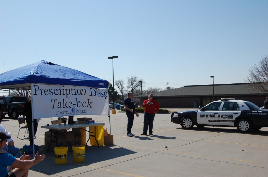 Volunteers collect unwanted medication at the Prescription Take-Back in Good Samaritan Hospital's parking lot.