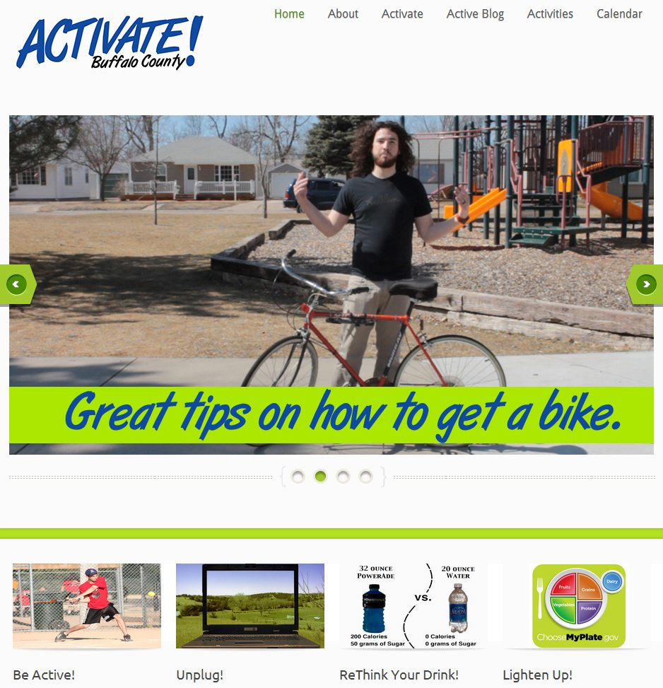 A snapshot of the new Activate Buffalo County website.
