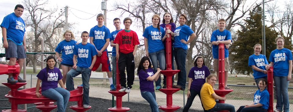 YAB members, in their Take a Stand shirts, line up at their April 2013 meeting.