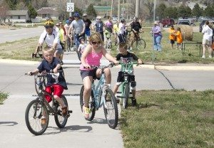 Families packed Eagle Loop Trail at the April Bicycle Sunday.