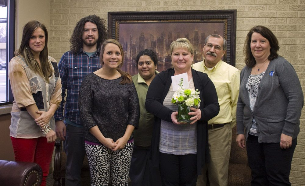 Community Partners' staff stopped by Lesley LaFile's office to thank her for her help securing the Catholic Health Initiatives Mission and Ministry grant for the Violence Prevention Coalition.