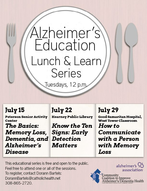 Coalition Providing Alzheimer's Education Sessions in July