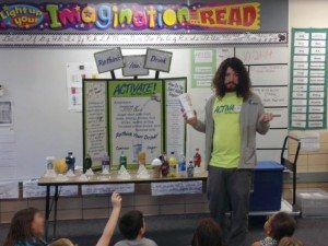 Activate Buffalo County Coordinator Holden Armstrong presents the ReThink Your Drink display to a class at Park Elementary.