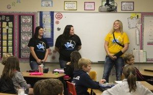 UNK softball players talk to students at Northeast Elementary about why they choose to stay drug free.