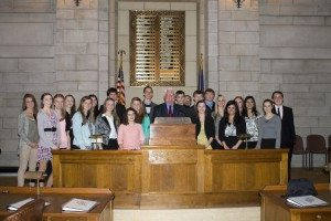 The 2014-15 Buffalo County Youth Advisory Board with Speaker Galen Hadley after their legislative session.