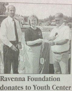 Judy receiving funds from the Ravenna Foundation for the Youth Center.