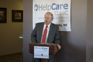 Dr. Ken Shaffer speaking at the press conference to open up the HelpCare clinic in 2015.  Shaffer had served on the planning committee for the clinic and now volunteers his time there.